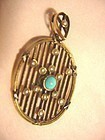 15k Gold Victorian Turquoise + Pearl Pendant