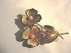 WELLS Sterling Enamel Pansy Pin w/ Pearls