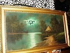 Early 20thC Pastel ~ Cabin by the Lake
