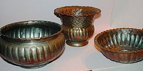 Three Middle Eastern Copper + Tin Items
