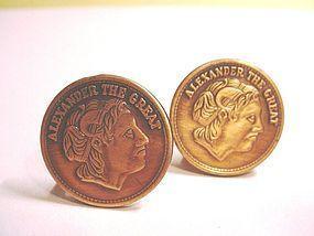 Alexander the Great Copper Cufflinks