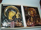 A Silver + Gold Plated Traveling Dyptich ~ Russian Wedding Icon
