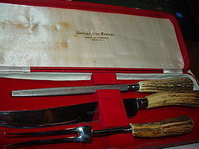 3 Piece Stag Carving Set Wostenholm & Sons Sheffield w/Shagreen Case