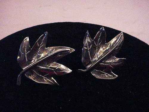 30's Hand Wrought Sterling Maple Leaf Earrings