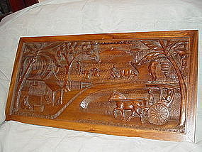 Bas Relief Mahogany Folk Art Panel ~ Philippines