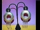"Funky Mexican Sterling Hoop Earrings~3.5"" ~31Gr"