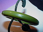 Moss Green Beveled Bakelite Bangle