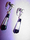 Art Deco Crystal Pearl Earrings