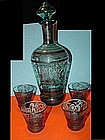 Venetian Blue Glass Silver Deposit Decanterw/3Glasses
