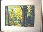Early 20thC Autumnal Forest Scene~ Watercolor ~ Signed