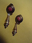 Italian Brass Spiral Pendant Earrings