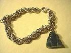 12kt GF Triple Link Charm Bracelet w/Nephrite Buddha