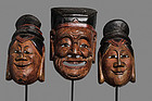 Antique Chinese Nuo Masks of Tudi Gong and 2 Wives