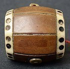 Antique Chinese Wood Toggle of Dice Drum