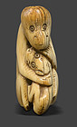 Antique Chinese Ivory Toggle of Monkey