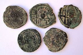 A COLLECTION OF 5 BYZANTINE BRONZE FOLLES