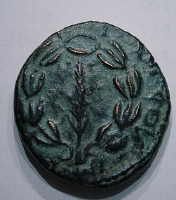 A JEWISH BRONZE COIN OF THE BAR KOCHBA REVOLT