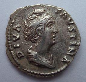 A ROMAN SILVER DENARIUS OF FAUSTINA THE ELDER