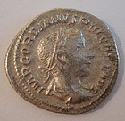 A RARE ROMAN SILVER DENARIUS OF GORDIAN III