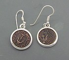 TWO WIDOWS MITES OF ALEXANDER JANNAEUS SET IN SILVER EARRINGS