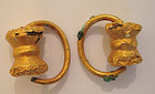 A PAIR OF EAST GREEK GILT BRONZE EARRINGS