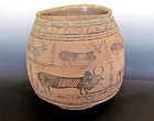 A LARGE INDUS VALLEY CIVILIZATION STORAGE JAR WITH ANIMALS