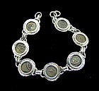 SEVEN WIDOWS MITES OF ALEXANDER JANNAEUS IN STERLING SILVER BRACELET
