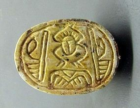 A CANAANITE STEATITE SCARAB WITH HIEROGLYPHS