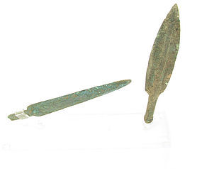 A BRONZE SOCKETED SPEAR HEAD AND DAGGER SET FROM THE TIME OF MOSES