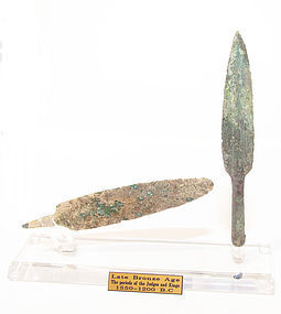 A BRONZE SPEAR HEAD AND DAGGER SET FROM THE TIME OF MOSES