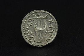 A ZUZ (DENARIUS) OF THE BAR KOCHBA REVOLT