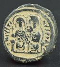 A BYZANTINE FOLLIS OF JUSTIN II AND EMPRESS SOPHIA