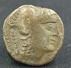 A NABATEAN BRONZE COIN OF ARETAS II