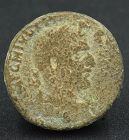 A BRONZE COIN OF PHILIP I FROM THE HOLY LAND DEPICTING MT. GERIZIM