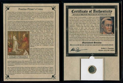 PONTIUS PILATE COIN IN DISPLAY FOLDER