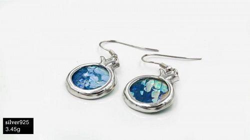 ROMAN GLASS FRAGMENTS IN SILVER POMEGRANATE EARRINGS