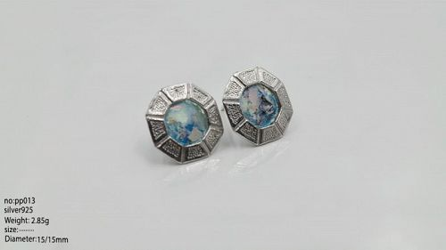 A ROMAN GLASS FRAGMENT IN STERLING SILVER STUD EARRINGS