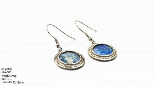 TWO ROMAN GLASS FRAGMENTS IN SILVER DROP EARRINGS