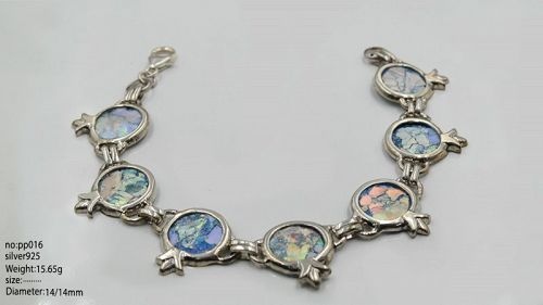 ROMAN GLASS FRAGMENTS IN SILVER POMEGRANATE BRACELET