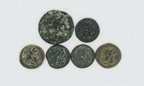 SIX BRONZE COINS OF PTOLEMY I-III