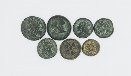 SEVEN BRONZE COINS OF THE PTOLEMIES