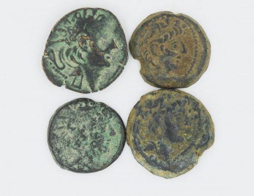 FOUR BRONZE COINS OF ALEXANDER II ZABINAS