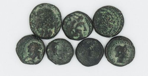 SEVEN BRONZE COINS OF ALEXANDER THE GREAT