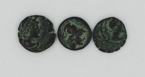 THREE BRONZE COINS ASSOCIATED WITH ANTIOCHUS VII SIDETES