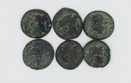 SIX BRONZE COINS OF DEMETRIOS II WITH GALLEY