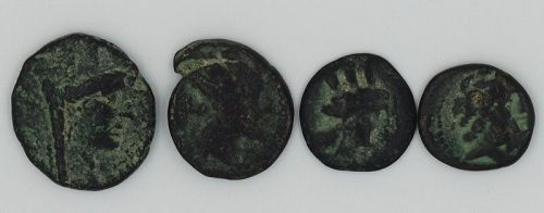 FOUR BRONZE COINS OF TYRE AND ARADOS