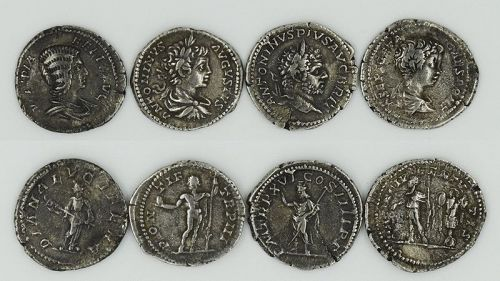 A FOUR COIN SET OF JULIA DOMNA AND HER SONS