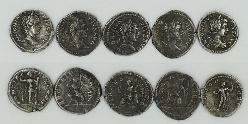 FIVE ROMAN DENARII OF CARACALLA