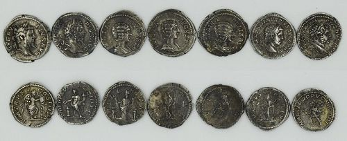 SEVEN COINS OF SEPTIMIUS SEVERUS, JULIA DOMNA AND CARACALLA