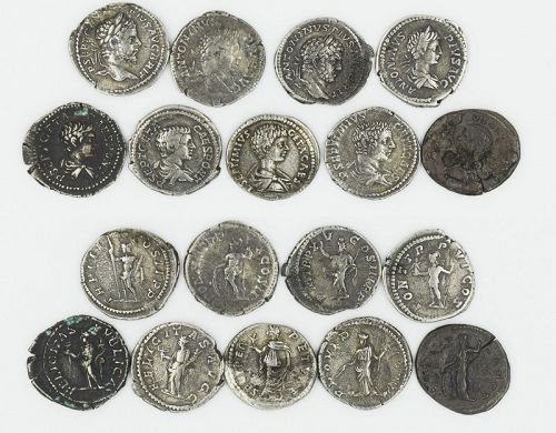 NINE ROMAN DENARII OF GETA AND CARACALLA